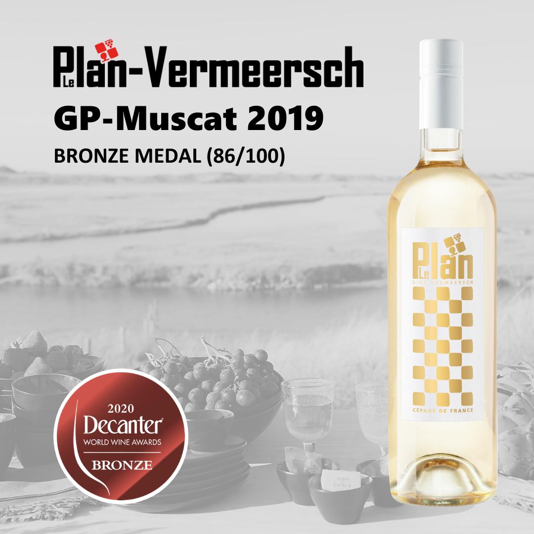 white wine GP-MUSCAT bronze medal decanter Cépage de France VDF LePlan-Vermeersch