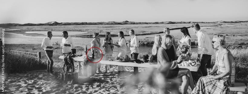 Group of friends drinking LePlan-Vermeersch SL range near the beach