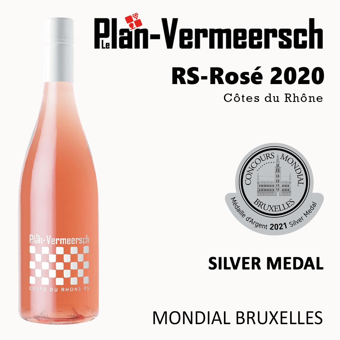 Bottle wine Cotes du Rhone RS-Rhone Rose Mondial Bruxelles silver medal LePLan-Vermeersch