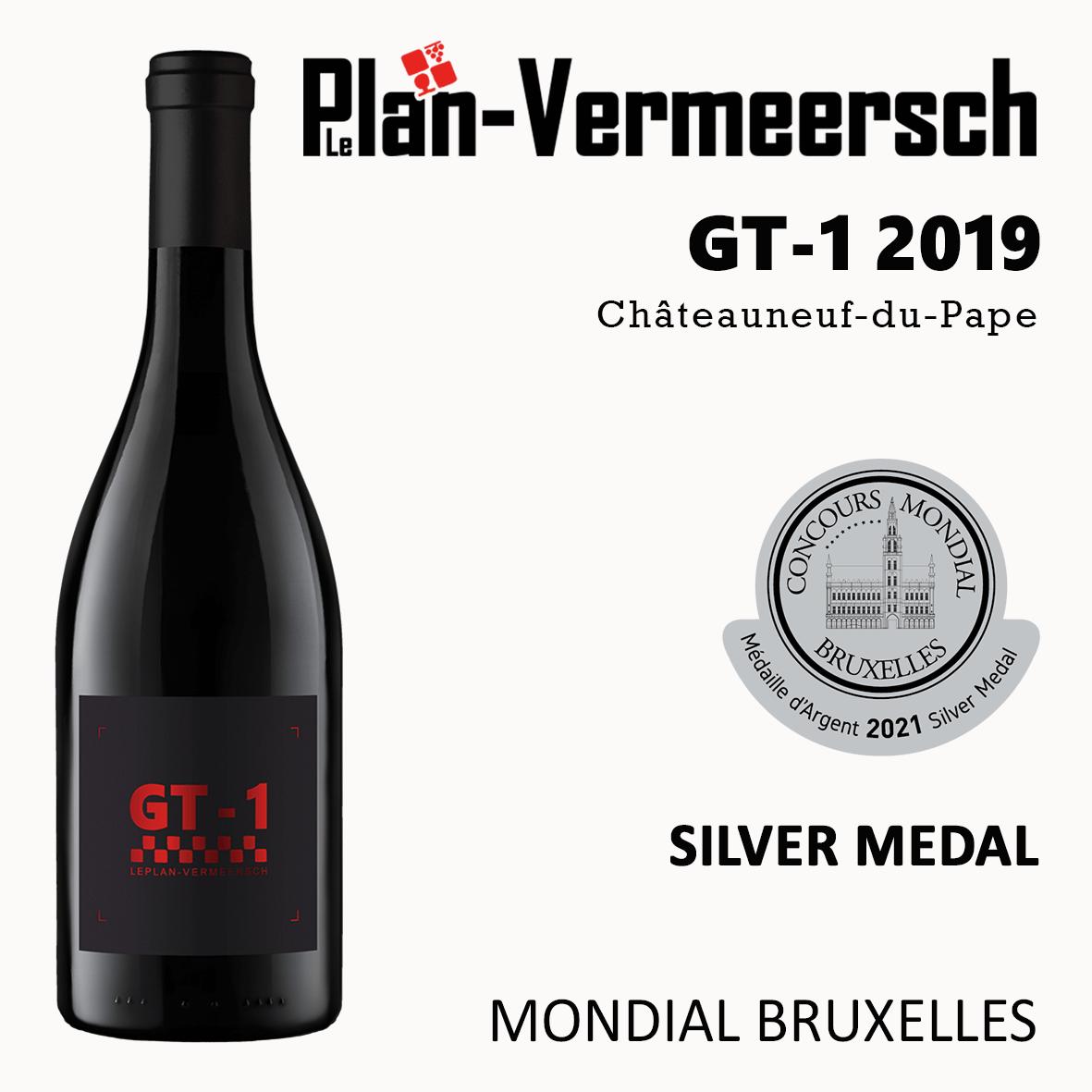 Bottle of wine Chateauneuf du Pape GT-1 silver medal mondial bruxelles LePlan-Vermeersch