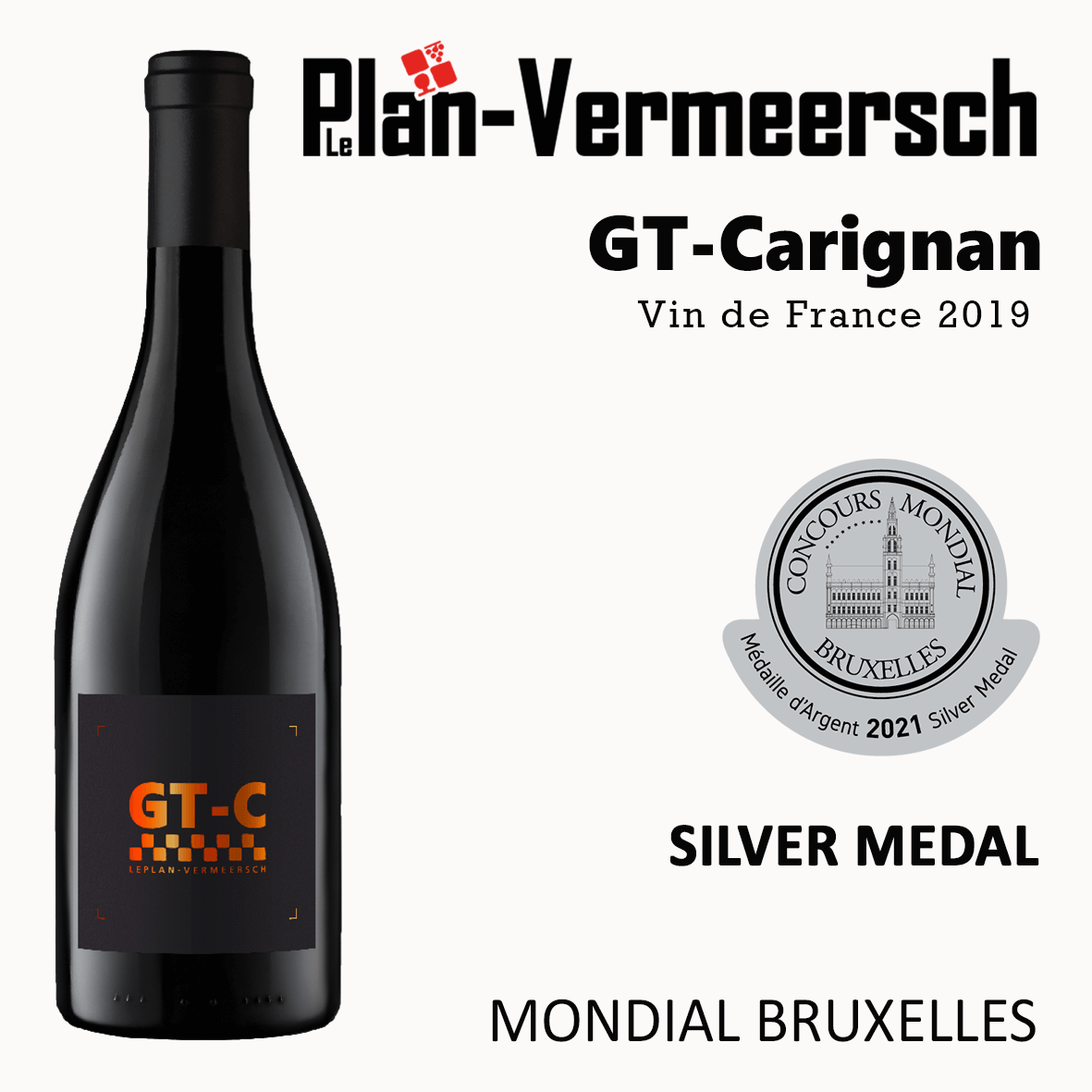 Vin de France Bottle wine GT Carignan silver medal mondial Bruxelles LePlan-Vermmersch