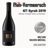 Bottle of GT-Syrah wine silver medal decanter LePlan-Vermeersch