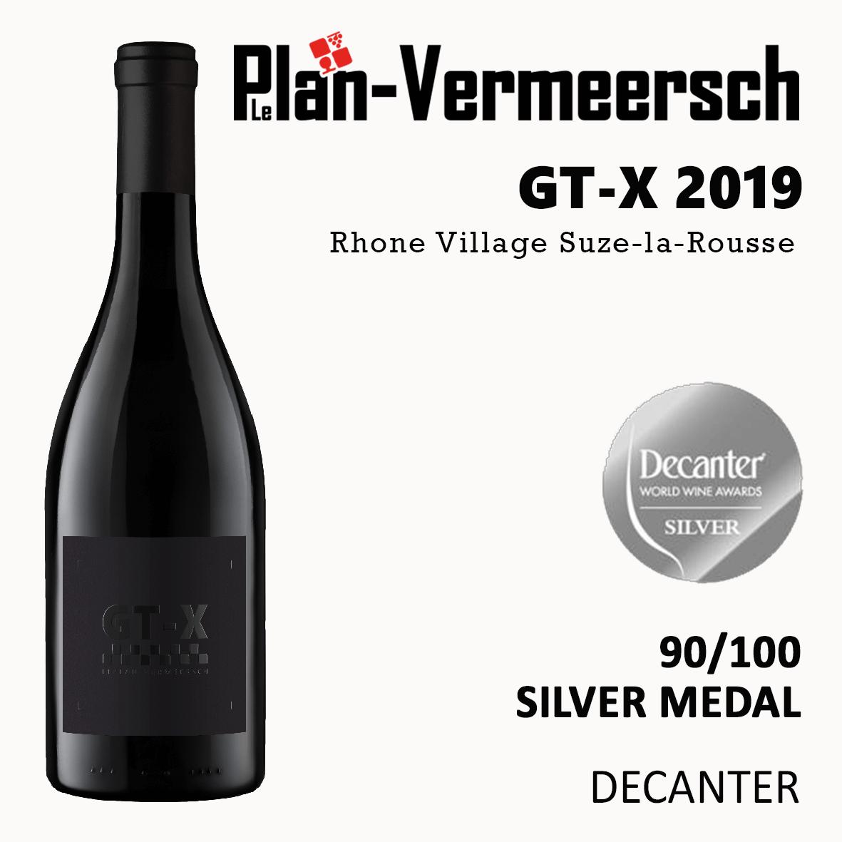 Bottle blend Grenache Syrah Carignan Mourvèdre Viognier GT-X wine silver medal Decanter LePlan-Vermeersch