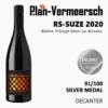 Bottle blend wine Syrah Mourvedre RS Suze silver medal decanter LePlan-Vermeersch