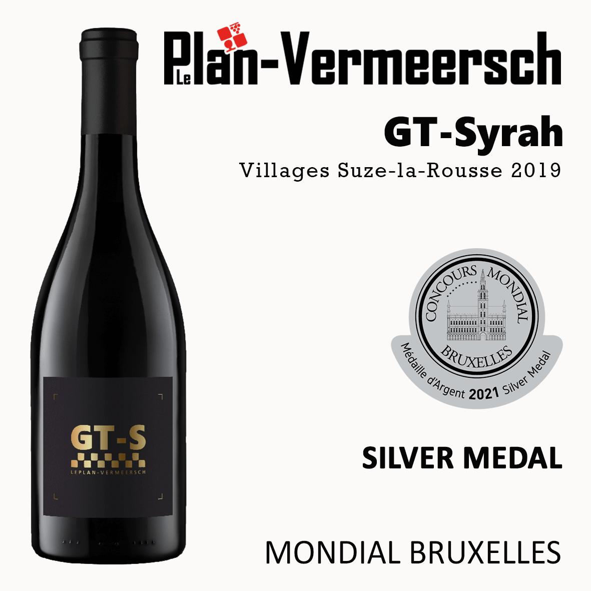 Bottle of GT-Syrah wine silver medal mondial Bruxelles LePlan-Vermeersch
