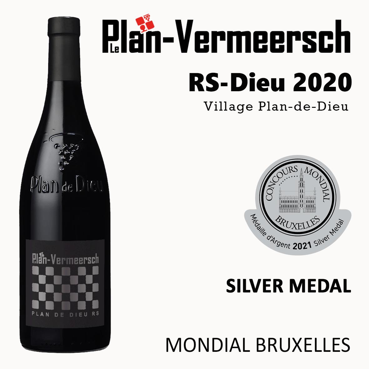 Bottle wine Syrah Grenache Mourvedre RS-Dieu Silver Medal Mondial Bruxelles LePLan-Vermersch