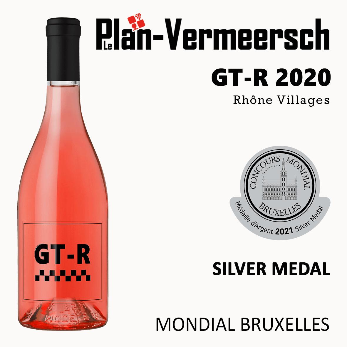 Bottle wine blend Grenache Mourvèdre Côtes du Rhône Villages GT-Rose mondial Bruxelles silver medal LePlan-Vermeersch