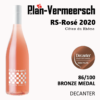 Bottle wine Cotes du Rhone RS-Rhone Rose Decanter bronze medal Leplan-Vermeersch