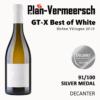 Bottle wine blend clairette viognier, roussane GT-X best of white silver medal decanter LePlan-Vermeersch